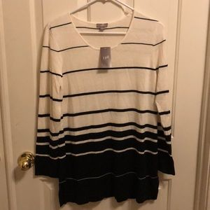 J. Jill Black and Cream striped sweater NWT